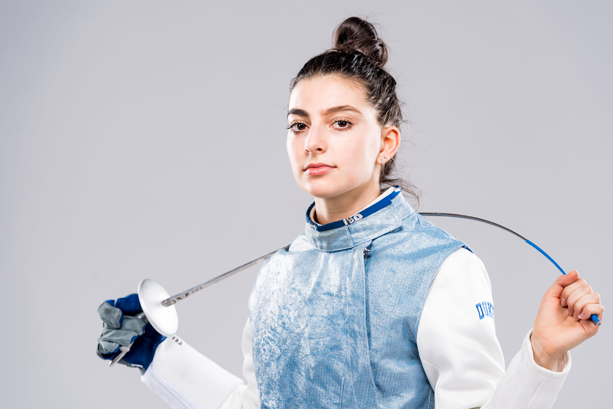 Senior Julia Gianneschi, co-captain of the Duke women's fencing team